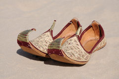 Traditional Arabic Shoes. With golden ornament Royalty Free Stock Photos