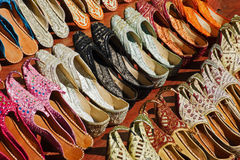 Traditional Arabic shoes. In east souk Royalty Free Stock Photography