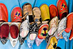 Traditional Arabic Shoes. Arabic shoes commonly seen in street markets of Morocco, Africa Royalty Free Stock Images