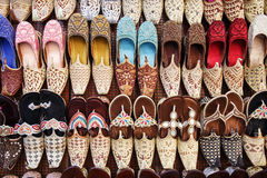 Traditional Arabic shoes. In east souk Royalty Free Stock Photos