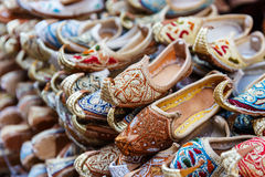 Traditional Arabic shoes. In east souk Royalty Free Stock Images