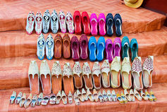 Traditional Arabic Shoes - multicolored, decorated with sequins, slippers or khussa jutti or babouches. Traditional Arabic Shoes multicolored, decorated with Stock Image