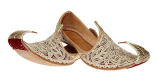 Traditional Arabic shoes over white Stock Photo