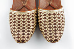 Traditional Arabic slippers. Shot against a white background Royalty Free Stock Photography