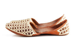 Traditional Arabic slippers. Shot against a white background Royalty Free Stock Images