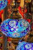 Traditional arabic style culorful lantern. S at night market. Colored red, yellow, blue, green, violet, pink and white lanterns, decorated with ornaments and Stock Image