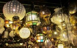 Traditional arabic style culorful lantern at night market Stock Photos