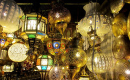 Traditional arabic style culorful lanterns at night market Royalty Free Stock Images