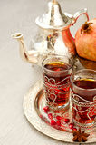 Traditional arabic tea with metal teapot and glasses vertical Royalty Free Stock Images
