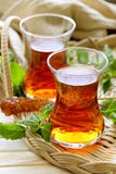 Traditional Arabic Turkish tea served with mint Stock Photography