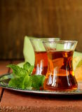 Traditional Arabic Turkish tea served with mint Royalty Free Stock Photography