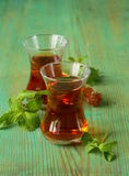 Traditional Arabic Turkish tea served with mint Stock Photo