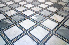 Traditional Arabic white, and blue marble and mosaic tiled floor - suitable for background. Stock Photography