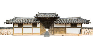 Traditional arched entrance of ancient korea building. Stock Photos