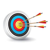 Traditional Archery Target with Arrows Illustration Stock Photos