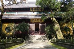 Traditional architecture of ancient chinese Lingyin temple Royalty Free Stock Images