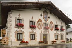 Traditional architecture in the Austrian Tyrol with paintings on Stock Images