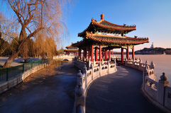 Traditional Architecture -The Beihai Pavilions. Beihai (North Sea) Park is one of the most popular parks in the city of Beijing. To the southwest of the lake Royalty Free Stock Images
