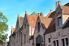 Traditional architecture of the center of bruges stock photo