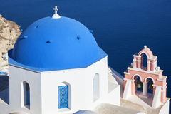Traditional architecture church in Oia village, landmark of Gree Stock Image