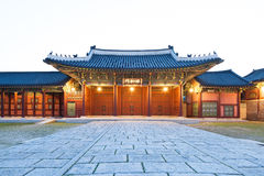 Traditional architecture of East-Asia: Gyeongbokgung Palace in Seoul, South Korea Stock Images