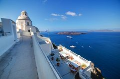 Traditional architecture in Fira on Santorini island, Greece Royalty Free Stock Photo