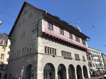 Traditional architecture and historic buildings in the Oldtown or Altstadt of Zurich. Switzerland stock photography