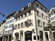 Traditional architecture and historic buildings in the Oldtown or Altstadt of Zurich stock photo