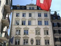 Traditional architecture and historic buildings in the Oldtown or Altstadt of Zurich royalty free stock images