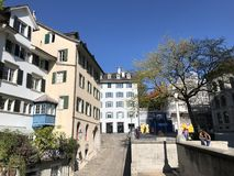 Traditional architecture and historic buildings in the Oldtown or Altstadt of Zurich royalty free stock photography