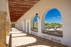 Traditional architecture in Izamal, Mexico stock photography
