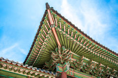 Traditional Architecture of Korean Roof Eaves at Changdeokgung Palace. Traditional Korean painting on roof eaves in Changdeokgung Palace Royalty Free Stock Images