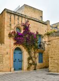 Traditional architecture in Malta, residential house. Mdina city street view. It is a fortified city in the Northern Region of Malta, which served as the island` Stock Images