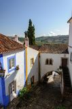 Traditional architecture in Medieval Portuguese Town of Obidos Stock Photo