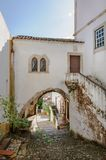 Traditional architecture in Medieval Portuguese Town of Obidos Royalty Free Stock Photos