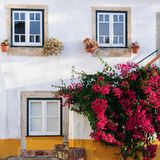 Traditional architecture in Medieval Portuguese Town of Obidos Stock Photography