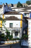 Traditional architecture in Medieval Portuguese Town of Obidos Royalty Free Stock Image