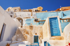 Traditional architecture in Oia village, Santorini Stock Photos