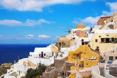 Traditional architecture in Oia village, Santorini Royalty Free Stock Images