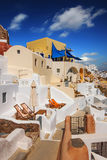 Traditional architecture in Oia village, Santorini Stock Images
