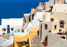 Traditional architecture of Oia village on Santorini island, Gre Stock Photo