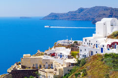 Traditional architecture of Oia village on Santorini island, Gre Royalty Free Stock Images