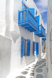Traditional architecture of Oia village on Santorini island, Gre Stock Photos