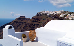 Traditional architecture of Oia village on Santorini island Stock Images