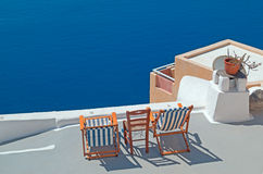 Traditional architecture of Oia village on Santorini island Stock Photography