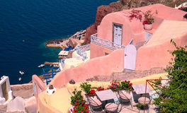 Traditional architecture of Oia village on Santorini island. Greece Royalty Free Stock Images