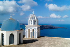 Traditional architecture of Oia village on Santorini island Stock Image