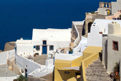 Traditional architecture of Oia village on Santorini island Royalty Free Stock Photo