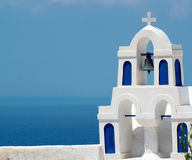Traditional architecture of Oia village on Santorini island Stock Photos