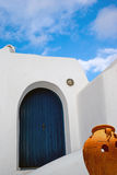 Traditional architecture of Oia village on Santorini island Stock Photos
